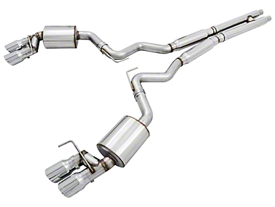 AWE Touring Edition Cat-Back Exhaust w/ Chrome Silver Tips (15-17 GT Premium Fastback w/ MP Concepts GT350 Style Rear Diffuser)
