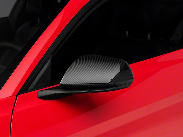 SpeedForm Mirror Covers; Carbon Fiber Style (15-20 GT, EcoBoost, V6 w/o Mirror Signals)