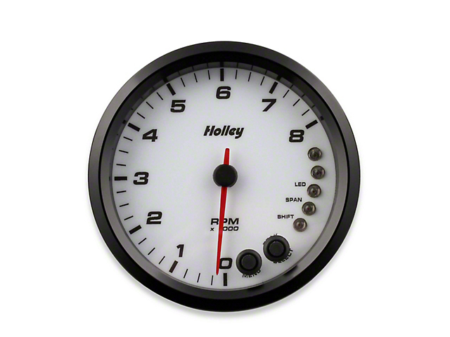 Holley Performance 4.50-Inch Analog-Style Tachometer; 0-8K; White (Universal Fitment)