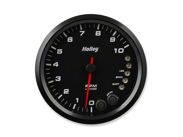 Holley Performance 4.50-Inch Analog-Style Tachometer; 0-10K; Black (Universal Fitment)