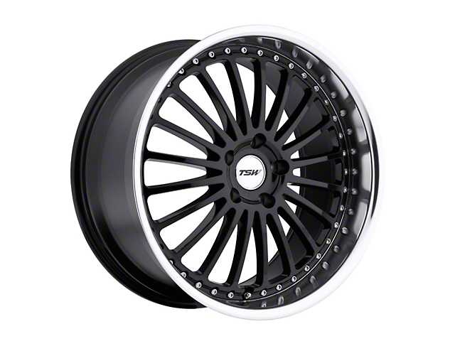 TSW Silverstone Gloss Black with Mirror Cut Lip Wheel; Rear Only; 20x10 (05-09 All)