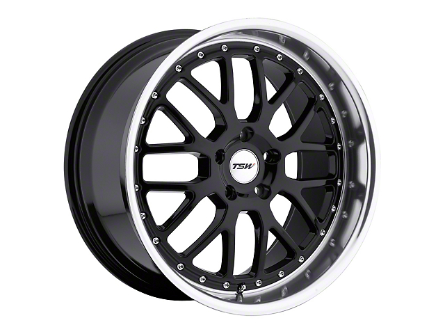 TSW Valencia Gloss Black with Mirror Cut Lip Wheel; Rear Only; 19x9.5 (15-20 GT, EcoBoost, V6)