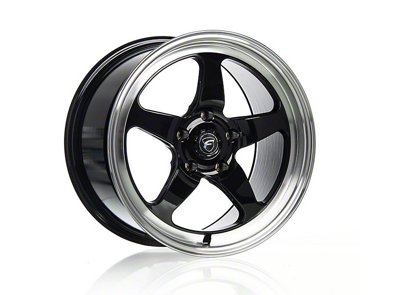 Forgestar D5 Drag Black Machined Wheel - 18x9 - Rear Only (15-20 GT, EcoBoost, V6)