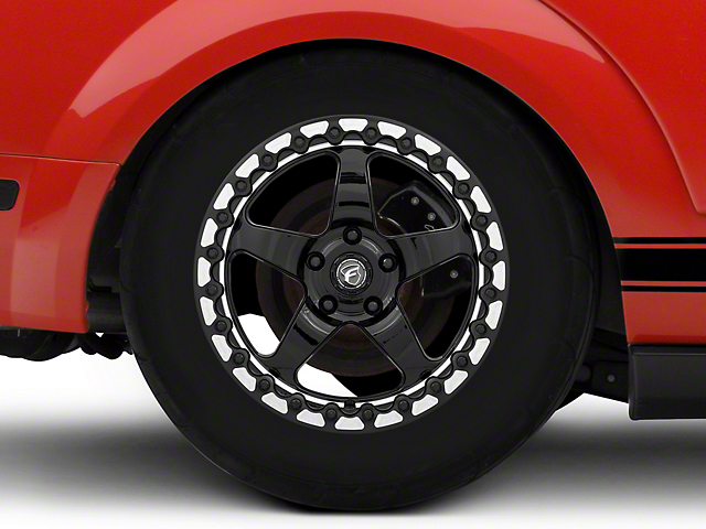 Forgestar D5 Beadlock Drag Black Machined Wheel; Rear Only; 17x10 (05-09 All)