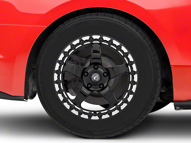 Forgestar D5 Beadlock Drag Black Machined Wheel; Rear Only; 17x10 (15-21 GT, EcoBoost, V6)