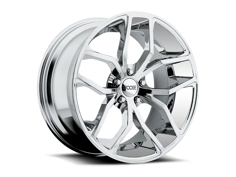 Staggered Foose Outcast Chrome Wheel and NITTO INVO Tire Kit; 20x8.5/10 (15-20 GT, EcoBoost, V6)