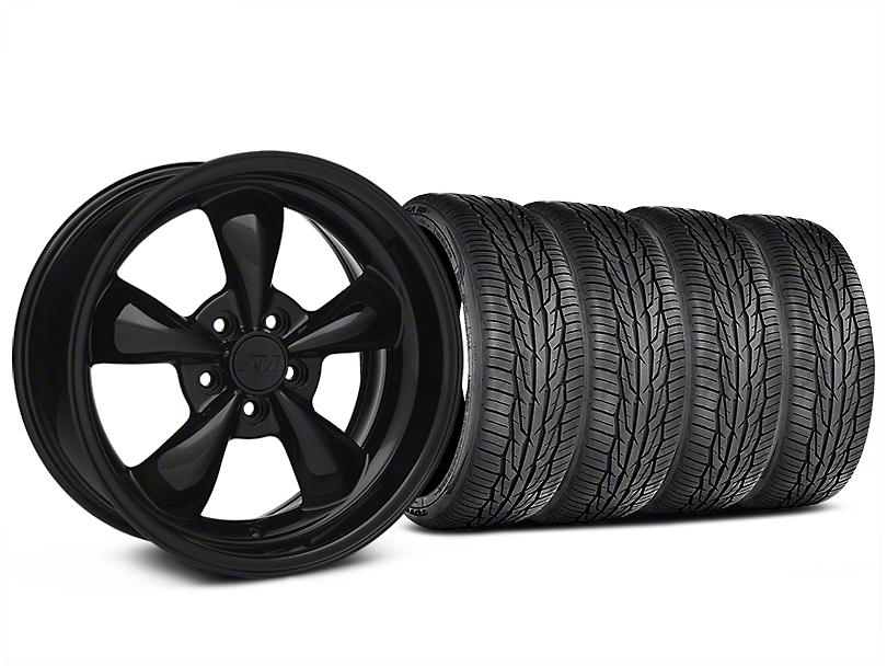 Staggered Bullitt Solid Gloss Black Wheel and Toyo Extensa High Performance II A/S Tire Kit; 18x9/10 (05-10 GT; 05-14 V6)