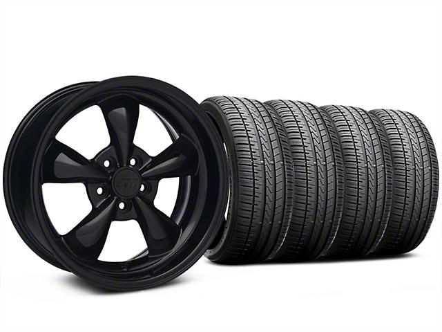 Staggered Bullitt Solid Gloss Black Wheel and Falken Azenis FK510 Performance Tire Kit; 18x9/10 (99-04 All)