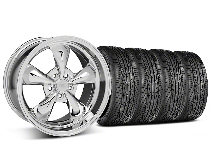 Staggered Bullitt Chrome Wheel and Toyo Extensa High Performance II A/S Tire Kit; 18x9/10 (05-10 GT; 05-14 V6)