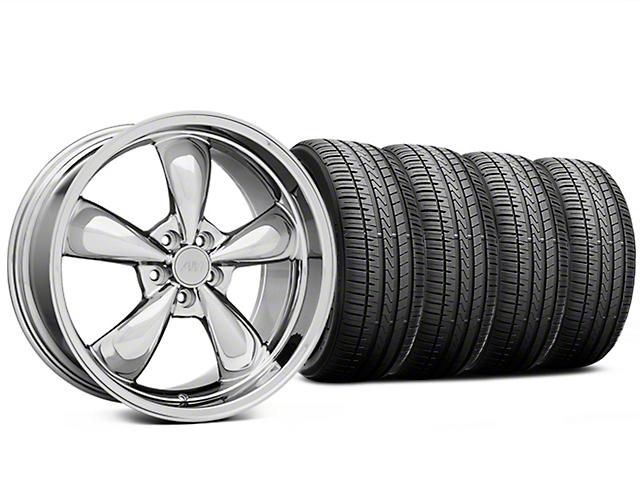 Staggered Bullitt Chrome Wheel and Falken Azenis FK510 Performance Tire Kit; 20x8.5/10 (05-10 GT; 05-14 V6)
