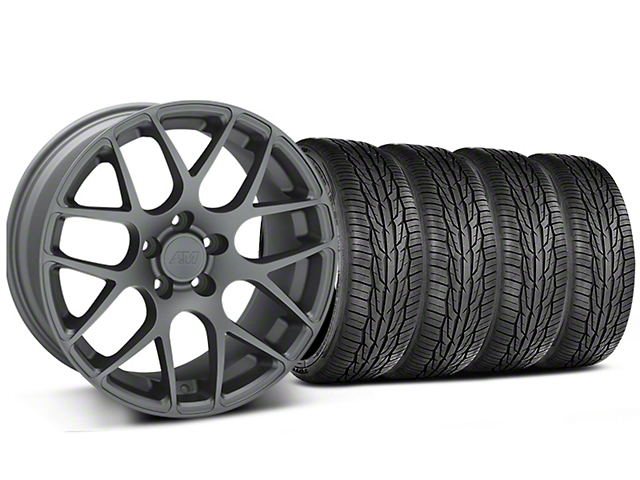 Staggered AMR Charcoal Wheel and Toyo Extensa High Performance II A/S Tire Kit; 18x9/10 (05-14 All)