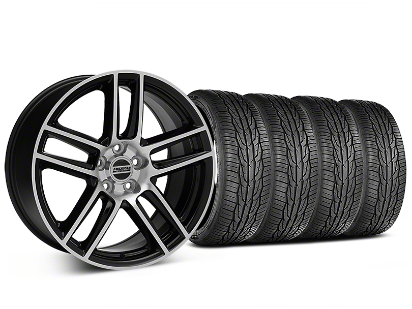 Laguna Seca Style Black Machined Wheel and Toyo Extensa High Performance II A/S Tire Kit; 19x9 (05-14 All)