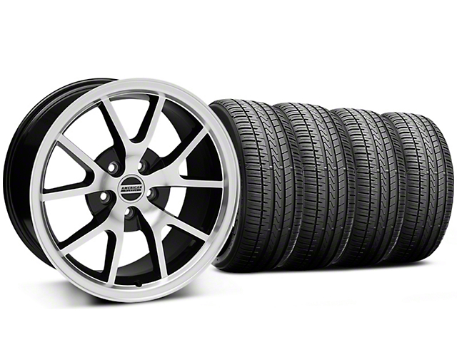 Staggered FR500 Style Black Machined Wheel and Falken Azenis FK510 Performance Tire Kit; 18x9/10 (99-04 All)