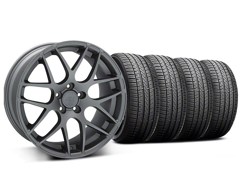 Staggered AMR Charcoal Wheel and Falken Azenis FK510 Performance Tire Kit; 20x8.5/10 (05-14 All)