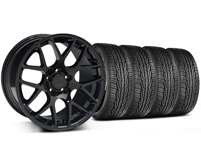 Staggered AMR Black Wheel and Toyo Extensa High Performance II A/S Tire Kit; 18x9/10 (05-14 All)