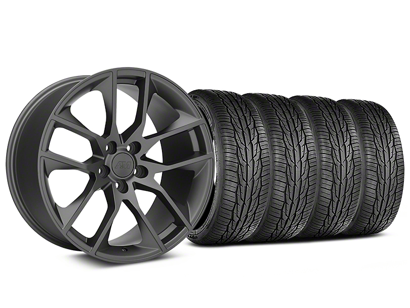 Staggered Magnetic Style Charcoal Wheel and Toyo Extensa High Performance II A/S Tire Kit; 19x8.5/10 (05-14 All)