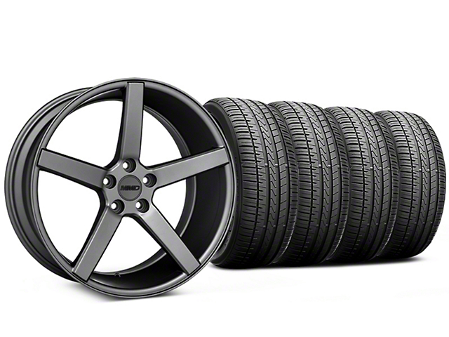Staggered MMD 551C Charcoal Wheel and Falken Azenis FK510 Performance Tire Kit; 20x8.5/10 (05-14 All)