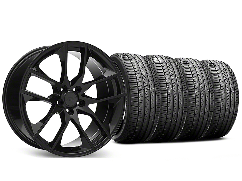 Staggered Magnetic Style Black Wheel and Falken Azenis FK510 Performance Tire Kit; 20x8.5/10 (05-14 All)