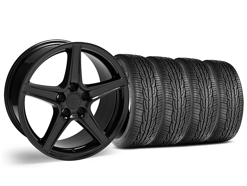 Staggered Saleen Style Black Wheel & Toyo Extensa High Performance II A/S Tire - 18x9/10 (05-14 Standard GT, V6)