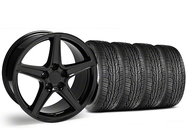 Staggered Saleen Style Black Wheel & Toyo Extensa High Performance II A/S Tire - 19x8.5/10 (05-14 Standard GT, V6)