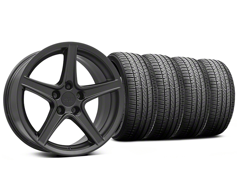 Saleen Style Matte Black Wheel & Falken Azenis FK510 Performance Tire Kit - 18x9 (05-14 Standard GT, V6)