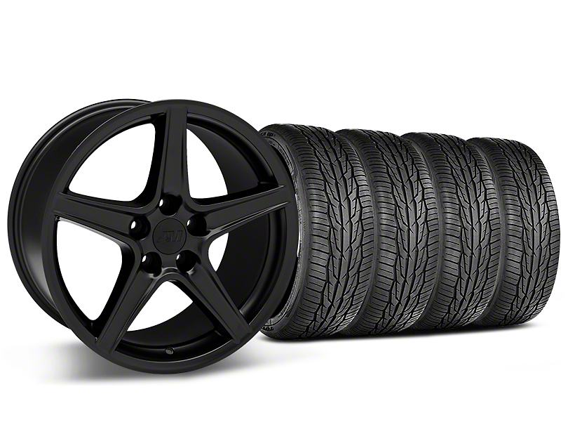 Staggered Saleen Style Matte Black Wheel & Toyo Extensa High Performance II A/S Tire - 18x9/10 (05-14 Standard GT, V6)