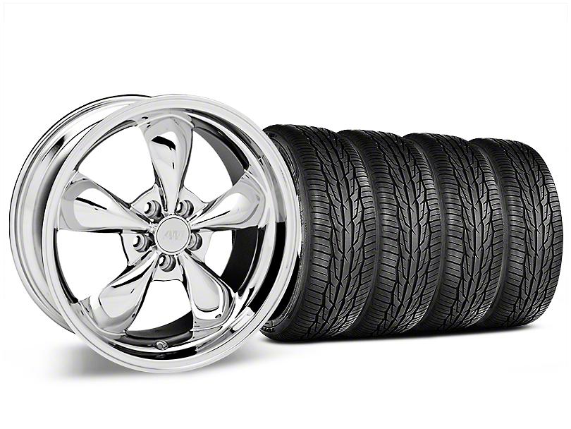 Staggered Deep Dish Bullitt Chrome Wheel and Toyo Extensa High Performance II A/S Tire Kit; 19x8.5/10 (05-14 Standard GT, V6)
