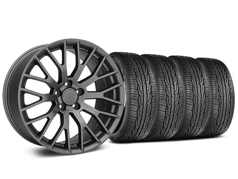 Staggered Performance Pack Style Charcoal Wheel and Toyo Extensa High Performance II A/S Tire Kit; 19x8.5/10 (15-20 GT, EcoBoost, V6)