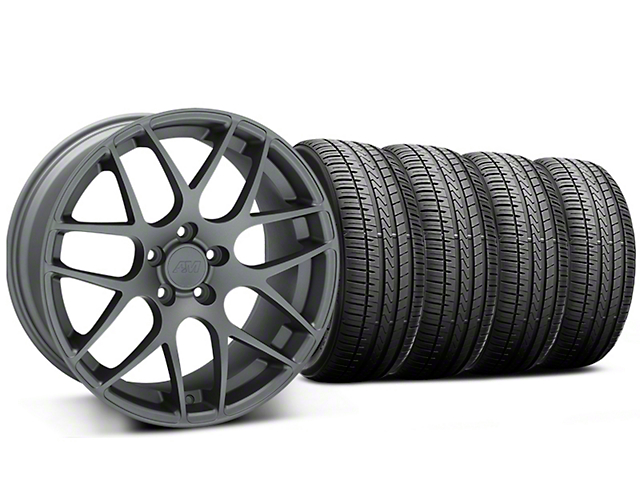 Staggered AMR Charcoal Wheel and Falken Azenis FK510 Performance Tire Kit; 20x8.5/10 (15-20 GT, EcoBoost, V6)