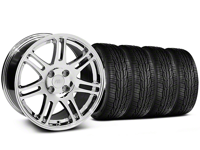10th Anniversary Cobra Style Chrome Wheel and Toyo Extensa High Performance II A/S Tire Kit; 17x9 (87-93 All, Excluding Cobra)