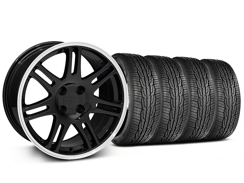 10th Anniversary Cobra Style Black Wheel and Toyo Extensa High Performance II A/S Tire Kit; 17x9 (87-93 All, Excluding Cobra)