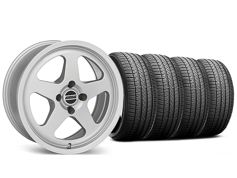 SC Style Silver Wheel and Falken Azenis FK510 Performance Tire Kit; 17x8 (87-93 All, Excluding Cobra)