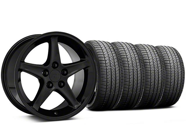 1995 Cobra R Style Black Wheel and Falken Azenis FK510 Performance Tire Kit; 17x9 (94-98 All)