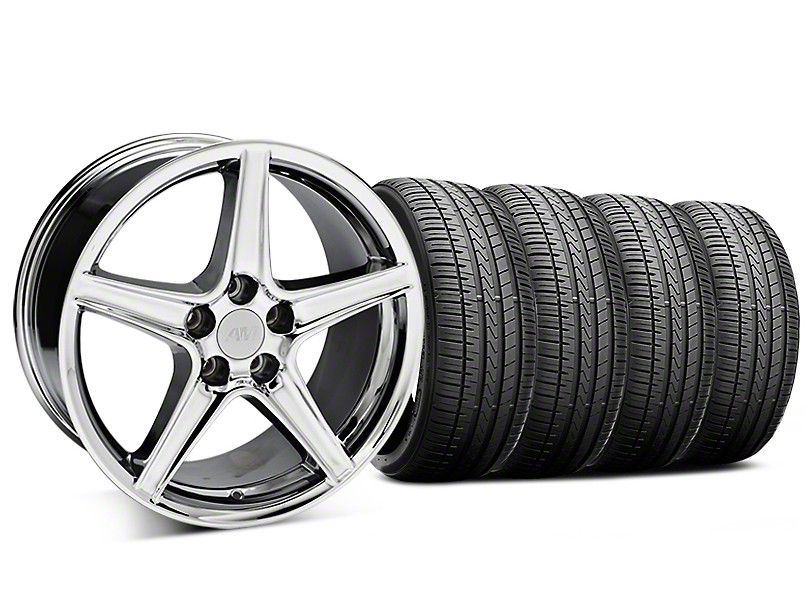 Saleen Style Chrome Wheel & Falken Azenis FK510 Performance Tire Kit - 18x9 (99-04 All)