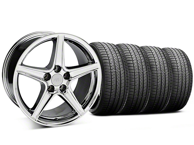 Staggered Saleen Style Chrome Wheel and Falken Azenis FK510 Performance Tire Kit; 18x9/10 (99-04 All)