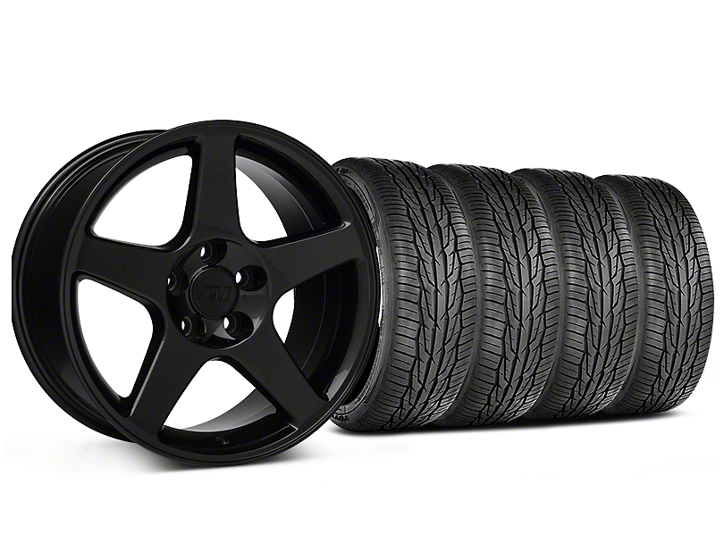 Staggered 2003 Cobra Style Black Wheel and Toyo Extensa High Performance II A/S Tire Kit; 17x9/10.5 (99-04 All)