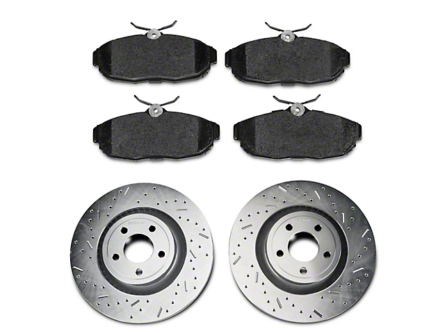 Xtreme Stop Precision Cross-Drilled and Slotted Brake Rotor and Carbon Graphite Pad Kit; Rear (15-20 GT w/ Performance Pack, EcoBoost w/ Performance Pack)