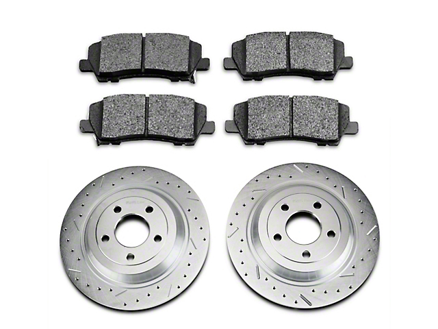 Xtreme Stop Precision Cross-Drilled & Slotted Brake Rotor & Carbon Graphite Pad Kit - Rear (15-20 Standard GT, Standard EcoBoost, V6)