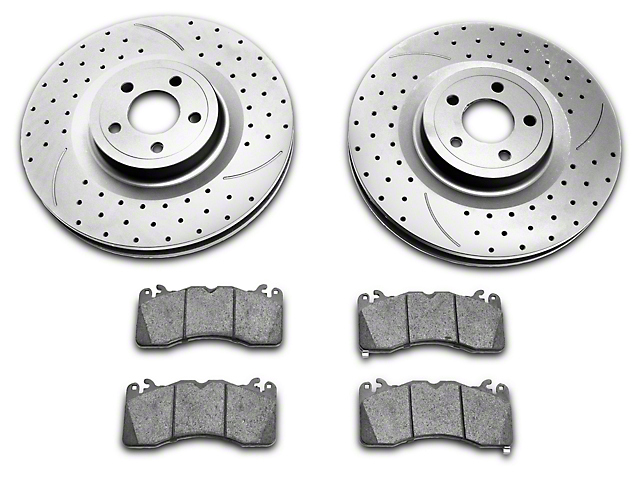 SR Performance Cross-Drilled and Slotted Brake Rotor and Pad Kit; Front; Silver (15-21 GT w/ Performance Pack)