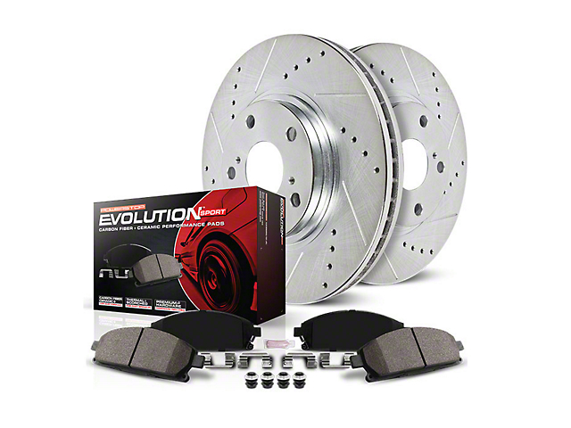 Power Stop Z23 Evolution Sport Brake Rotor and Pad Kit; Front and Rear (15-21 Standard GT, EcoBoost w/ Performance Pack)