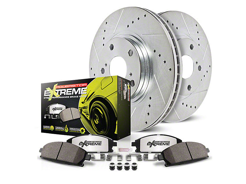 Power Stop Z26 Street Warrior Brake Rotor and Pad Kit; Front and Rear (15-20 GT w/ Performance Pack)