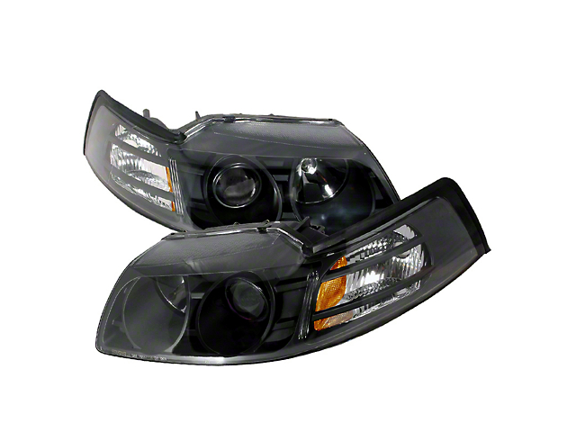 Halo Projector Headlights; Black Housing; Clear Lens (99-04 All)