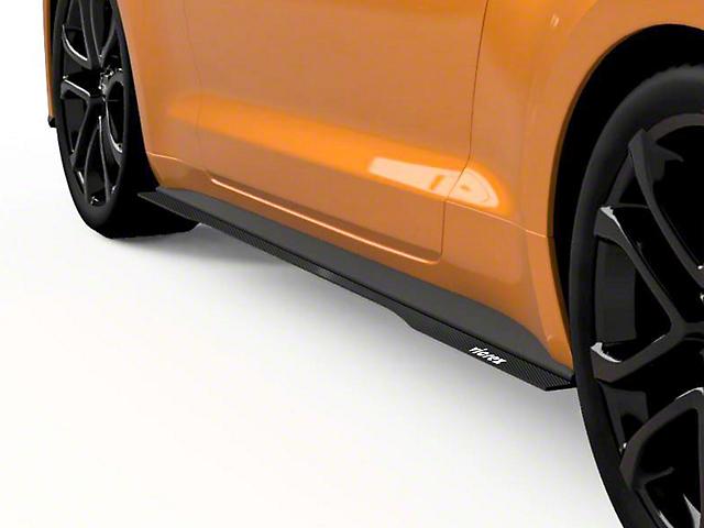 LV Style Side Skirt Splitters; Gloss Carbon Fiber (18-20 GT, EcoBoost)