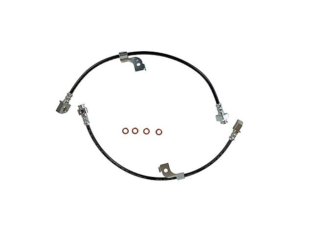 J&M Stainless Steel Teflon Brake Hose Kit; Black Outer Cover; Rear (15-21 All)