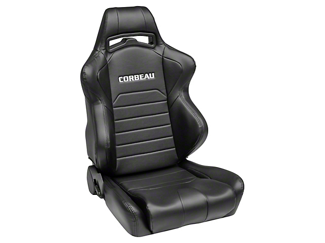 Corbeau LG1 Racing Seats; Black Vinyl; Pair (79-21 All)