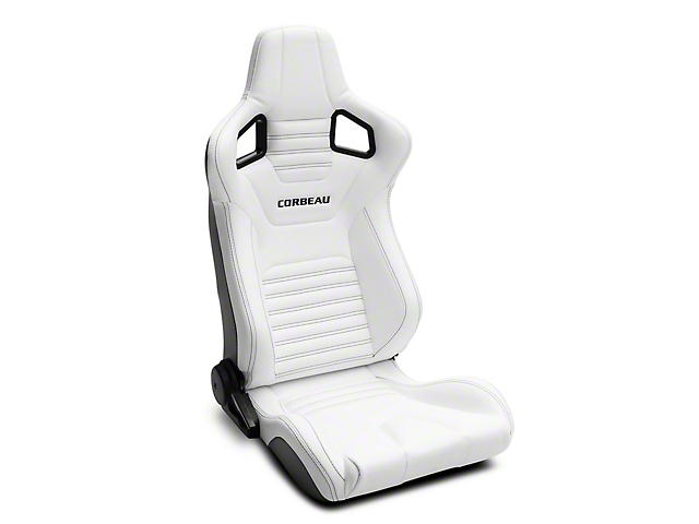 Corbeau Sportline RRS Reclining Seats; White Vinyl/Black Stitch; Pair (79-20 All)