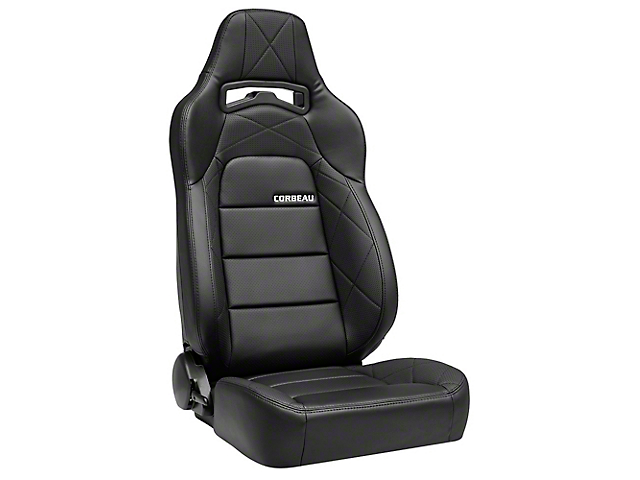 Corbeau Trailcat Reclining Seats; Black Vinyl/Black HD Vinyl; Pair (79-20 All)