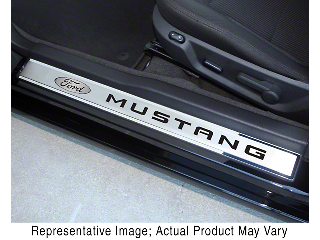 Polished/Brushed Door Sill Plates with Ford Oval and Mustang Logos; Bright Red (10-14 All)
