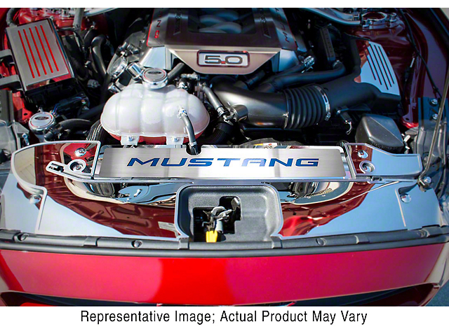 Polished/Brushed Radiator Cover with Mustang Lettering; Bright Red (15-17 GT, EcoBoost, V6)