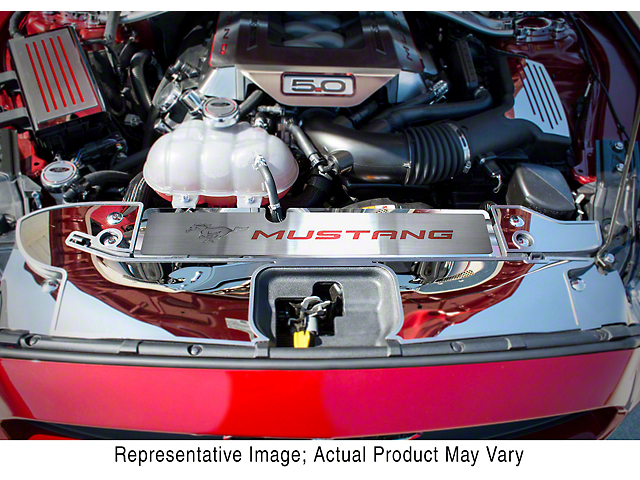 Polished/Brushed Radiator Cover with Running Pony Logo and Mustang Lettering; Bright Red (15-17 GT, EcoBoost, V6)